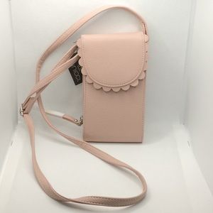 Minicci Baked Pink Scalloped Crossbody Bab NWT